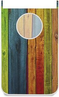 DOSHINE Panier à linge à suspendre en bois coloré à rayures arc-en-ciel pour salle de bain, chambre à coucher, collège der...