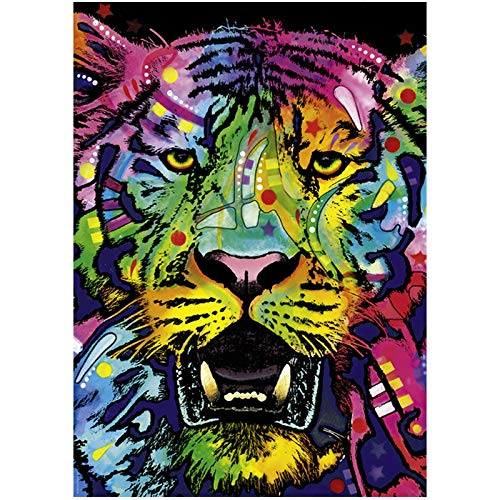 Kit de pintura de diamante para manualidades, diseño de tigre con rayas de color 5D, taladro completo, arte de diamante perfecto para relajación y decoración de pared del hogar, 30 x 39,9 cm
