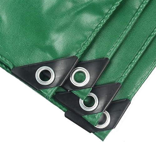 HongTeng Bache résistante de PVC de bache imperméable de Jardin, Couverture résistant aux intempéries pour Le Camion et Les remorques extérieurs de RV, Tissu antipluies Vert (Taille   4M×6M)
