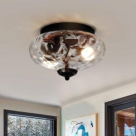 """EDISLIVE Modern 2-Light Hammered Glass Flush Mount Light Pendant Ceiling Light Fixture 10.2"""" Indoor Ceiling Light for Hallyway Foyer Bedroom(Black)"""