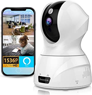 SereneLife 3MP WiFi IP Camera - HD 1536p - Smart Tracking PTZ Face Detection Alexa Compatible Wireless Home Security w/ Mo...