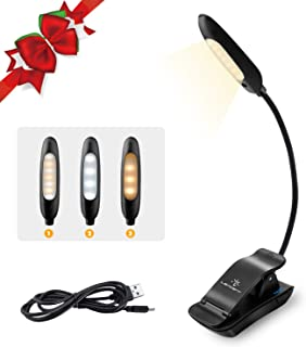 LENCENT 7 LED Book Light Rechargeable [UPGRADED], 3 Colors and 9 Brightness Modes (Warm & White), Eye Care Clip Reading La...