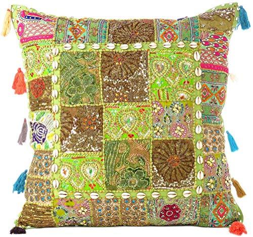 Eyes of India - Colorato Decorativo Divano Copriletto Patchwork Cuscino Divano Cuscino Cover Custodia Bohémien Accento Indiano Boho Chic Fatto a Mano Cover - Verde Oliva, 24 X 24 in. (60 X 60 cm)