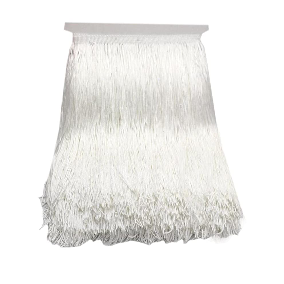 10Yard/Lot 30CM Polyester Tassel Fringe Lace Trimming for DIY Latin Dress Stage Clothes Fabric Accessories (White)