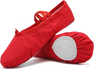 WALUCAN Ballet Slippers Canvas Dance Shoes for Girls Gymnastics Yoga Flats(Toddler/Little/Big Kid/Women) Red