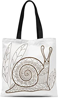 Semtomn Cotton Canvas Tote Bag Adult Coloring Page Cute Snail Whimsical Line for Colouring Reusable Shoulder Grocery Shopping Bags Handbag Printed