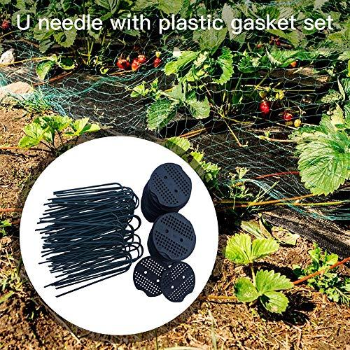 Juego de alfombras de jardín y tapetes de plástico | Garden Stakes Pasadores en U de acero resistente al óxido de calibre 11 de 6 pulgadas Clavijas con junta de plástico | 50 piezas / 100 piezas