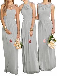 c71e0a55126 XJLY Lovelybride Pink A Line Long Chiffon Prom Bridesmaid Dress Wedding  Party Dress