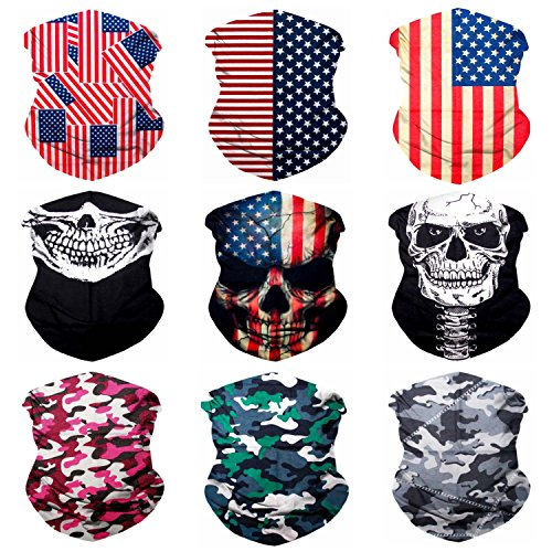 SoJourner 9PCS Seamless Bandanas Face Mask Headband Scarf Headwrap Neckwarmer & More – 12-in-1 Multifunctional for Music Festivals, Raves, Riding, Outdoors (Patriot 1)