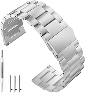 EEEKit 22mm Quick Release Stainless Steel Replacement Bands Bracelet Wrist Straps for Samsung Gear S3 Frontier (SM-R770)/Gear S3 Classic (SM-R760) Smart Watch (Silver)