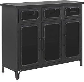 GEESE - Aparador de 3 cajones y 3 Puertas con Estructura de Metal en Color Negro con Efecto Envejecido - Medidas: Ancho 10...