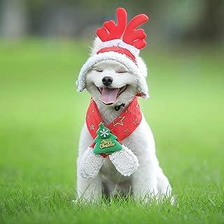 Glumes Cat Dog Pet Christmas Elk Hat Cute Scarf Christmas Tree Pattern Pet Santa Headwear Cats & Small Medium Large Dogs Party Costume Set