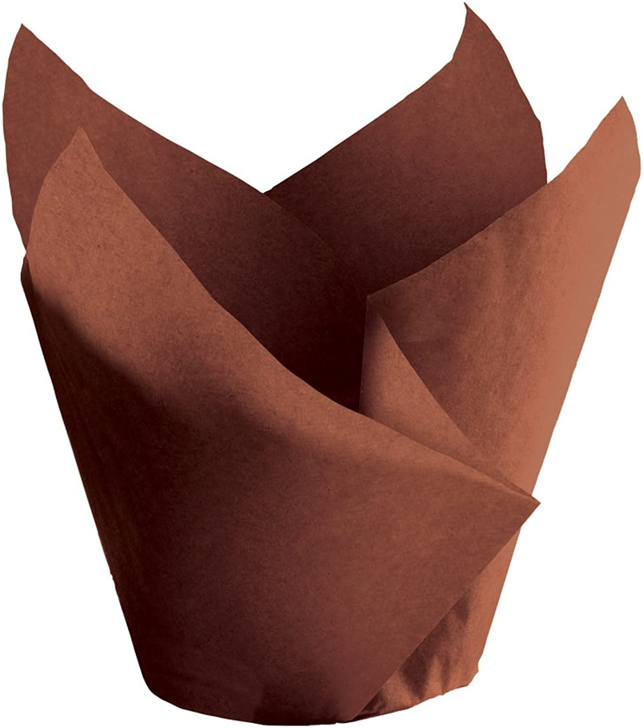 Hoffmaster 611117 Tulip Cup Cupcake Wrapper Baking Cup, 2  Diameter x 3-1 2  Height, Small, Chocolate (Pack of 1000)