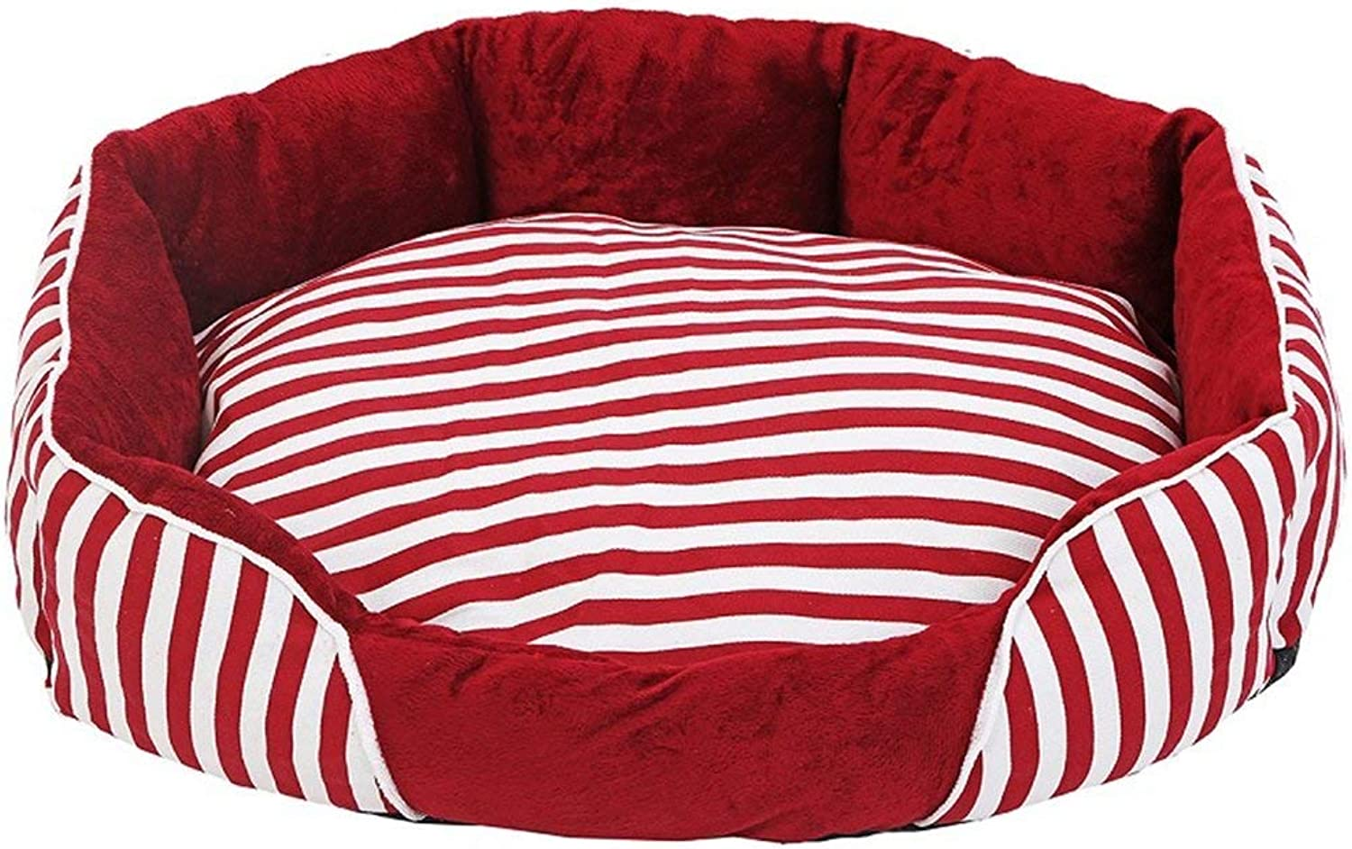 Gperw Dogs Furniture Round red and white striped pet PP cotton four seasons were washable cats and kennels Non Slip Cushion Pad (Size   54cm)