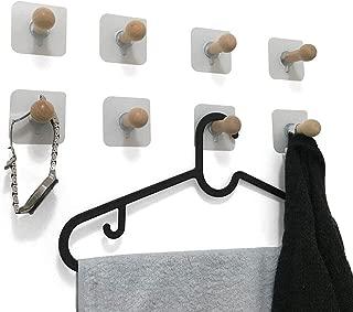 VTurboWay 8 Pack Adhesive Wall Hooks, No Drills Wooden Hat Hooks, Storage Wall Mounted Coat Hanging Hook for Coat, Wardrobe Closet Towel Key Robe Hook