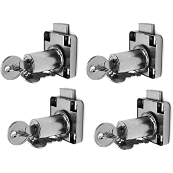4pcs Drawer Lock for Door Cabinets Cam Lock Office Cabinet Lock Furniture Drawer Lock Alloy Drawer Lock with The Same Key Cabinets and Drawers Mailboxes