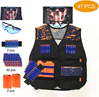 Astory Kids Tactical Vest, 47 Pack Tactical Vest Jacket Kit for Nerf Guns N-Strike Elite Series with 40 Pcs Refill Darts, 2 Dart Reload Clips, 2 Wrist Band ,1 Goggle, 1 Skull Mask for Boys, Girls