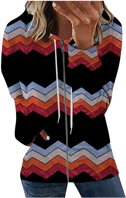 FABIURT Sweatshirts for Women,Womens Tops Striped Tunic Long Sleeve Tee Shirts Casual Loose Fit Shirts Blouses Tops