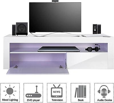 TV Stand Cabinet Wood Entertainment Unit LED High Gloss Storage Shelf White 155cm