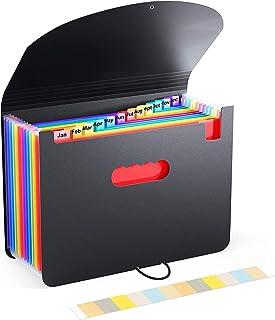 Amaza Cartella Portadocumenti A4, Organizer Espandibile, Portadocumenti Fisarmonica, 12 Tasche, Portatile, Multicolore in ...