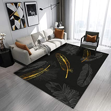 Blzqa Modern Style Rug Abstract Design Black Gold Feather Rugs Living Room Extra Large Size Soft Touch Short Pile Carpet Area Rugs Non Shedding 31 X 63 Inch Amazon Co Uk Kitchen Home