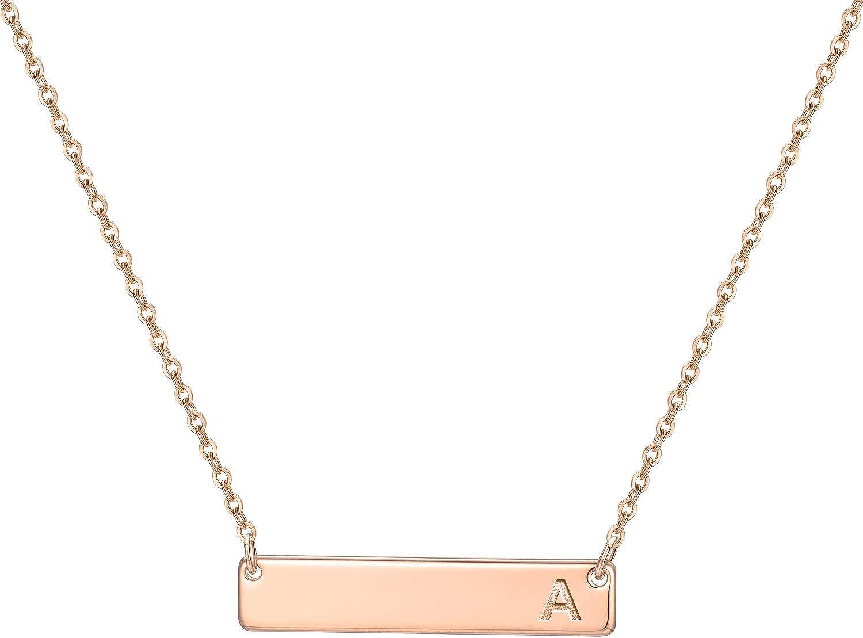 Reservation M MOOHAM Bar Initial Necklace for Rose 14K Gold Plat Special sale item Women