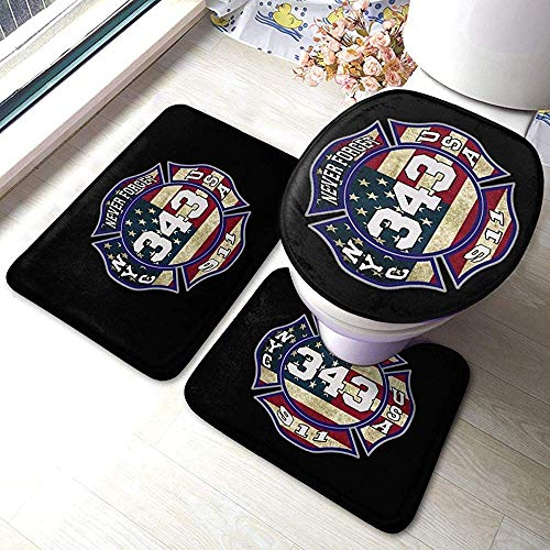 N \ A 911 343 Fallen Firefighters Remembrance 3 Piece Bathroom Anti-Skid Pads