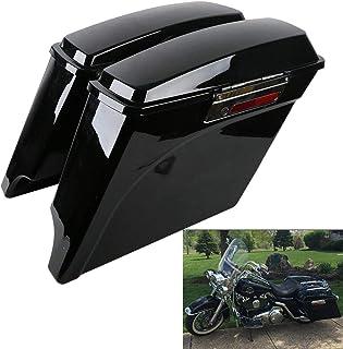 XFMT 5 Inch Stretched Extended Saddlebags Vivid Black Saddlebag with Lid Latch Keys Compatible with Harley Touring FLH FLT...