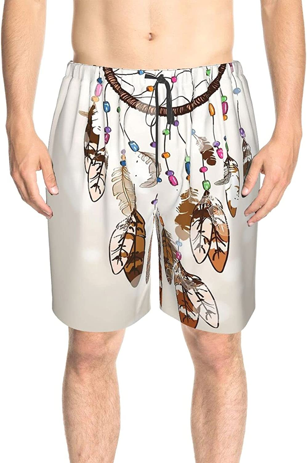 JINJUELS Men's Swim Trunks Indian Feather Catcher Swim Short Boardshort Quick Dry Cool Swimming Trunks with Mesh Lining