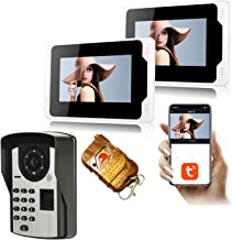 Tuya Smart 7 Inch WiFi Video Deurbel, 2 Monitor + 1080P Nachtzicht Beveiligingscamera, Video Deurtelefoon, Intercom, Vinge...