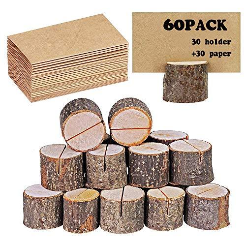 Colocar titulares de tarjetas, Tarjetero de madera rústica con mesa de corteza de madera, Número Photo Stand Place Name Memo Tarjetero para banquete de boda (60)