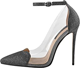 Onlymaker Women's Ankle Strap Pointed Toe T Strap Series High Heels Strappy Stiletto Sandals