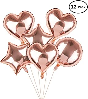 Hotshots2019 18 Inch 12 Pcs Party Balloons Rose Gold Foil Balloons 4 Pcs Heart Shape, 4 Pcs Round Shape, 4 Pcs Star Shape 18 Inches Helium Balloons for Birthday, Wedding, Christmas Party Decoration