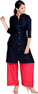 Prateek Exports Women's Cotton Solid Kurti With Palazzo for Daily Wear
