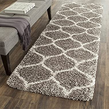 Safavieh Hudson Shag Collection SGH280B Grey and Ivory Moroccan Ogee Plush Runner (2'3  x 6')