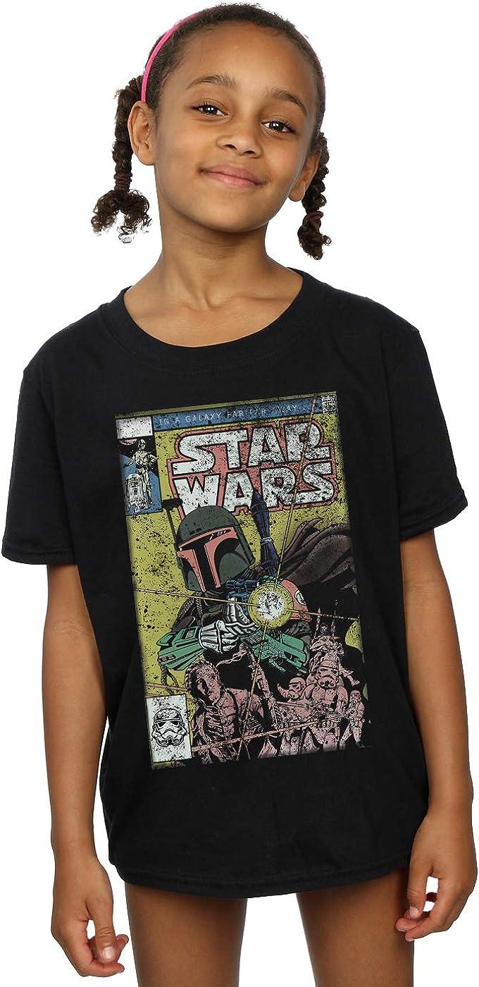 STAR WARS Girls Boba Fett Comic T-Shirt 12-13 Years Black