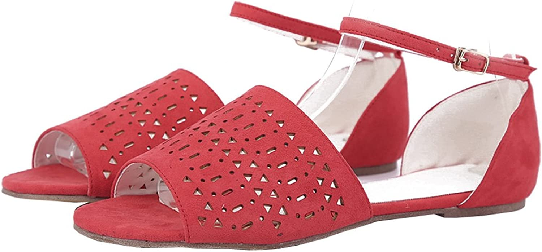 TDA Women's Open Toe Cut-Out Single Strap Suede Comfortable Flats Sandals shoes
