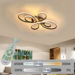 Ring LED Dimmable Ceiling Lighting Modern Linear Bedroom Chandelier Remote Control Living Room Semi Flush Mount Ceiling Lamp Kitchen Island Hanging Lamp White Office Metal Ceiling Light (Brown, 80cm)