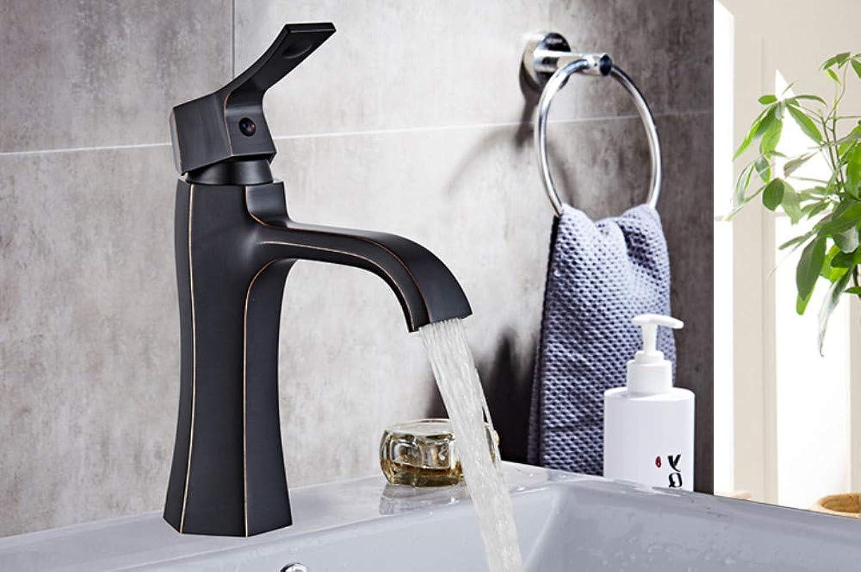 CZOOR Waschtischarmaturen Schwarz lackiert Spüle Mischbatterie Mode-Stil Einhebel Einlochmontage Deck montiert Kugelkran für Badezimmer