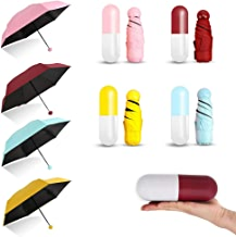 Step up Marketing Designer Ultra Lightweight Easy to Carry Coated 4-Fold Travel Mini Foldable Capsule Umbrella for Rain (Multi-Color)