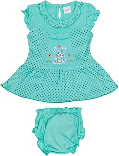 Hopscotch Baby Girls Cotton Short Sleeves Embroidery Polka Printed Dress with Bloomer in Green Color