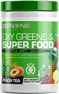 Superfood Powder - Green Juice All in One Superfood Supplement - 30 Day Supply - Contains Certified Organic Ingredients - Powerful Antioxidants - Vitamins & Minerals - Peach Tea Flavor