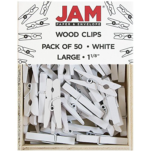 JAM PAPER Wood Clip Clothespins - Medium - 1 1/8 Inch - White - 50 Clothes Pins/Pack