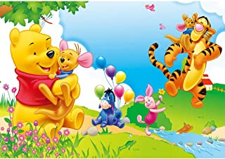 Photography Backgrounds Spring Newborn Baby Cartoon Photos Cute Winnie The Pooh Backdrop for Babyshowers Customized Happy Birthday Background Disney Theme
