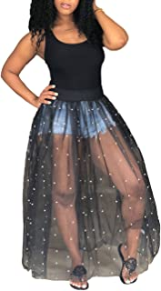 Women's Sheer Mesh Maxi Dress Sleeveless See Through Perl Beading Swing Long Tank Dresses