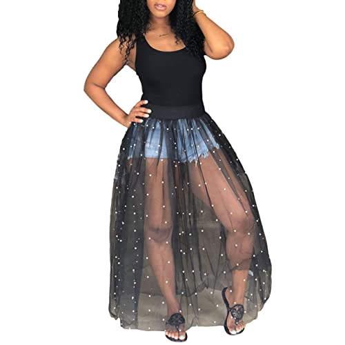 1991d8c76c71 Akmipoem Women's Sheer Mesh Maxi Dress Sleeveless See Through Perl Beading  Swing Long Tank Dresses