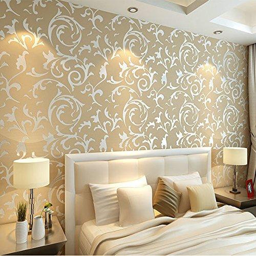 KeTian rotolo di carta da parati con dettaglio di moderno e lussuoso vittoriano damascato strutturato in rilievo per soggiorno camera da letto in tessuto non tessuto Beige 0.53mx10m= 5.3m2