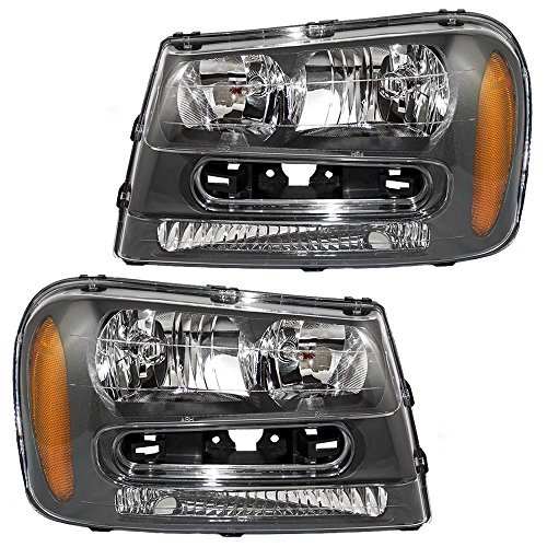 Aftermarket Replacement Driver and Passenger Set Headlights Compatible with 2002-2009 Trailblazer & 02-06 EXT w/Full Width Grille Bar 25970915 25970914