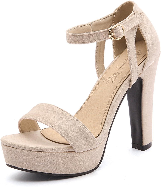 GenePeg Elegant Ankle Strap Sandals Platform Office Lady High Heels Summer shoes