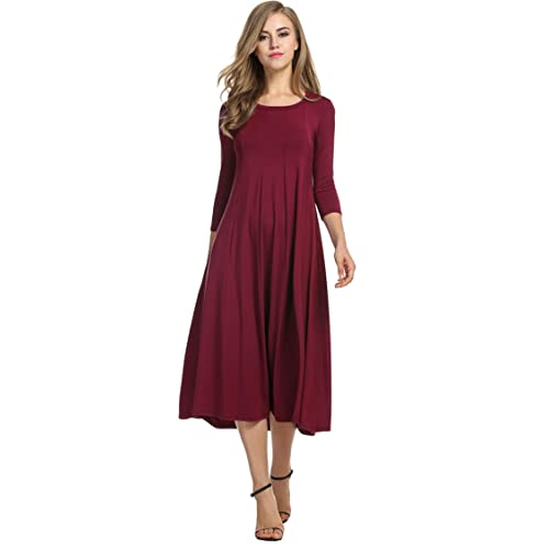 41738ca69371 Hotouch Women's 3/4 Sleeve A-line and Flare Midi Long Dress